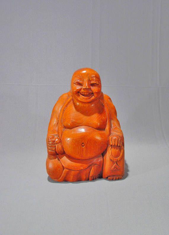 Vintage Hand Carved Wooden Buddha Figure - Buddha Sculpture - Smiling Buddha - Fat Buddha - Happy Buddha - Mid Century - Carved Wood Figure