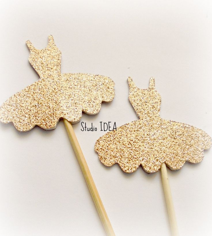 Champagne Gold Glitter Ballerina Dress Double sided Cupcake Toppers, Gold Dress…