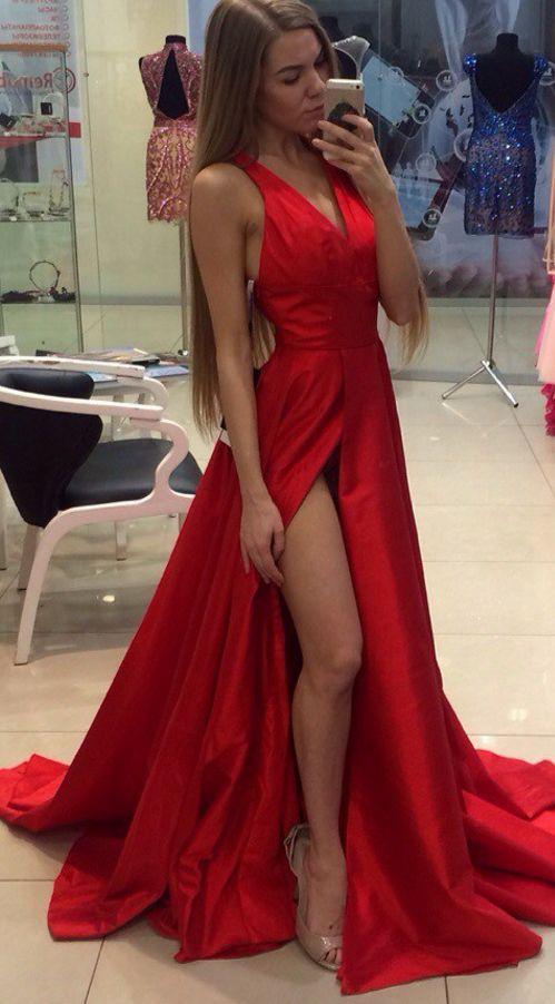 RED Satin prom dresses Evening Dress