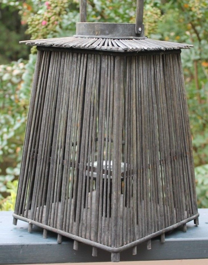 Vintage Japanese Asian Candle Lantern Bamboo Pagoda Lamp Decorative Old Patina