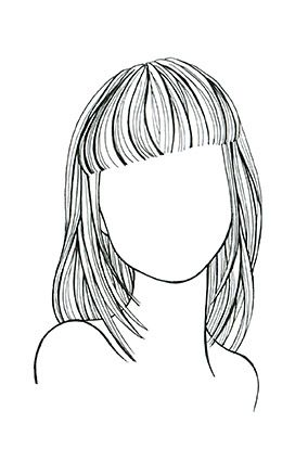 Straight Hair, Round Face A shoulder-dusting cut with long layers elongates your face. Strong, straight-across bangs enhance cheekbones.