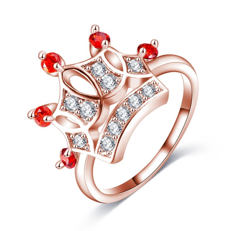 LZESHINE Exquisite Crown Shaped Ring 18k Rose Gold Plated CZ Diamond Rings for Women Fashion Plated Aneis De Ouro Jewelry #Aneis, #fashion
