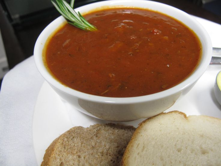 Chunky beef Goulash soup served with bread