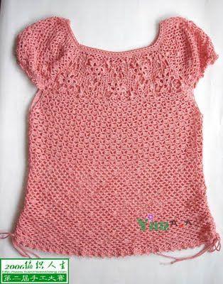 Hooked on crochet: Pink Crochet Top / Blusinha de crochê rosa