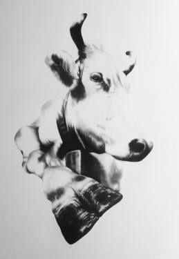 """Saatchi Art Artist Ira van der Merwe; Drawing, """"Schweizer Kuh VI"""" #art"""