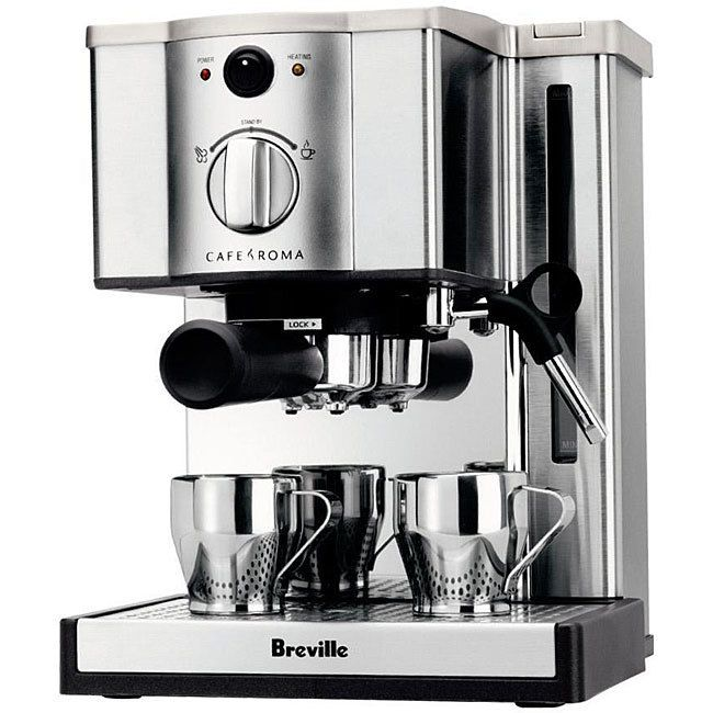 Create delicious, coffeehouse quality drinks with this Cafe Roma Espresso Maker. Designed by Breville, this sleek stainless steel machine makes it easy to create foamy lattes or strong Americano drinks.