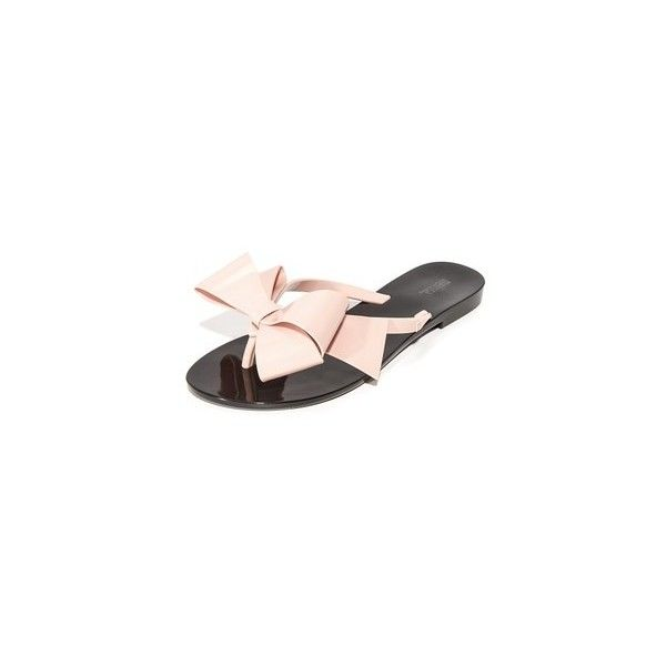 Melissa Harmonic Bow III Thong Sandals ($56) ❤ liked on Polyvore featuring shoes, sandals, flip flops, thong sandals, bow thong sandals, melissa flip flops, melissa shoes and toe post sandals