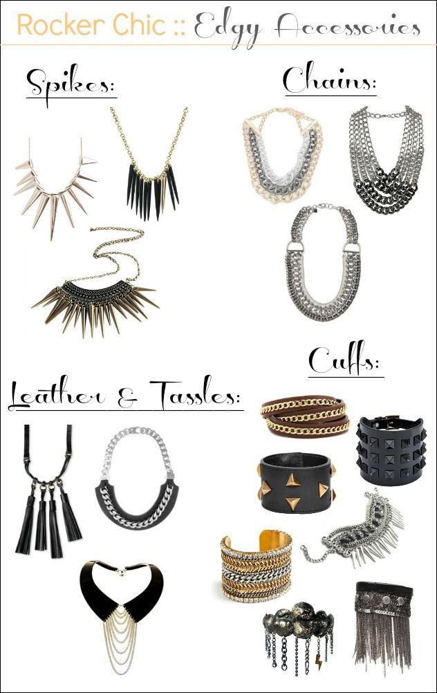 rocker chic: Rockers Chic Jewelry, What To Wear, Spikes Accessories, Chic Accessories, Rockers Chic Lov, Accesor, Rockers Chick Outfit, Rockers Chic Style Jewelry, Rocker Chic