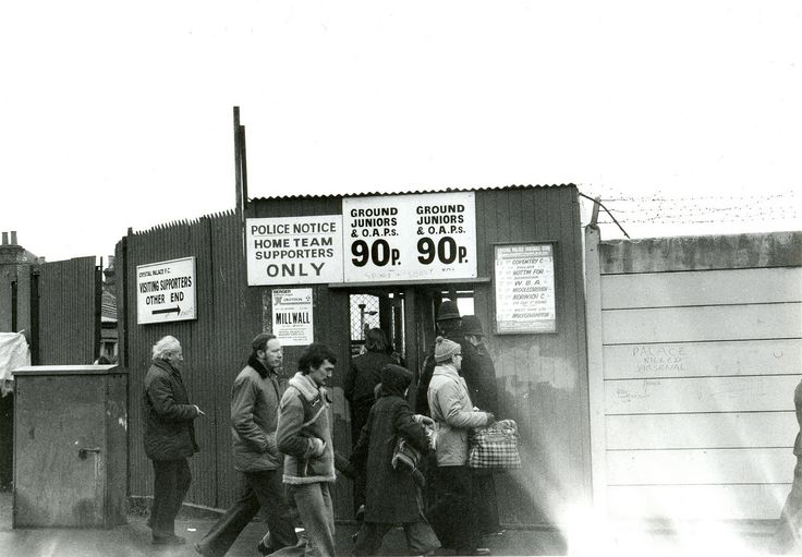 This is the entrance to the Holmesdale terrace at Selhurst Park, Crystal Palace. The photograph was taken on 10 November 1979 before Palace's match against Arsenal. Palace won the match 1-0, the winning goal was scored by Dave Swindlehurst. Photo by Paul Wright.