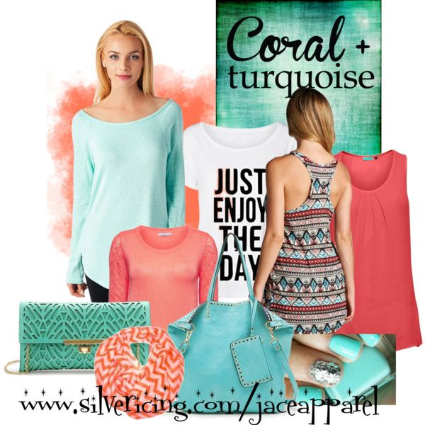Coral and Turquoise by jace-apparel on Polyvore featuring coral, handbag, turquoise and jaceapparel
