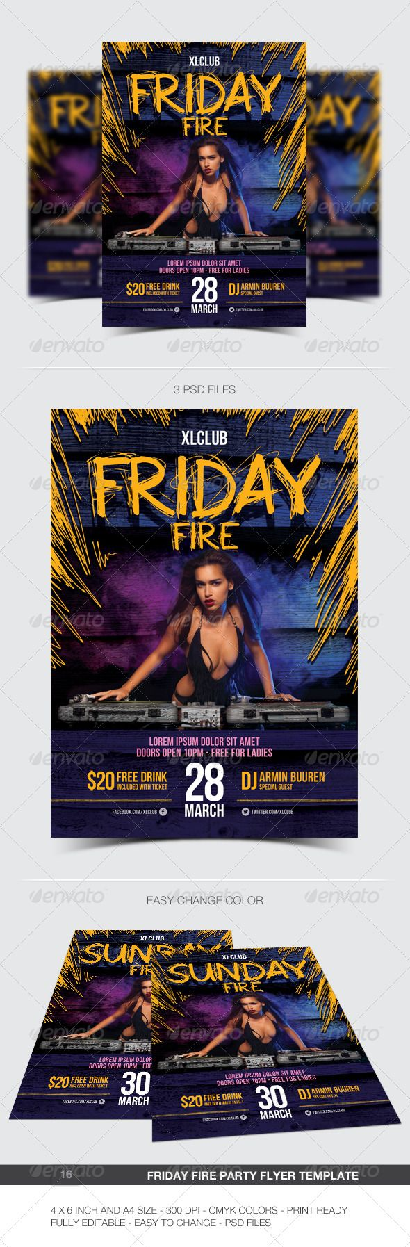 Friday Fire Party Flyer / Poster - 16 #a4 #blue #club #concert #dance #disco #dj #electro #electronic #event #everyday #fest #festival #fire #flyer #green #minimal #modern #monday #music #night #nightclub #party #saturday #sunday #yellow