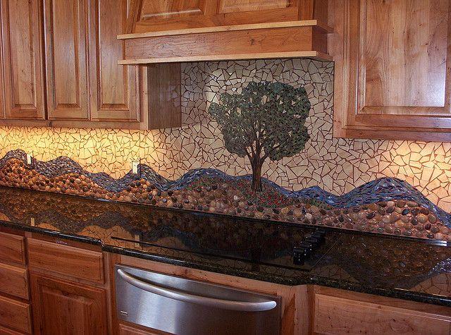 Pecan Tree Mosaic Backsplash II by Mosaics by Marlene, via Flickr