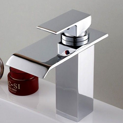 Moda Single Hole Bathroom Sink Waterfall Faucet Faucets