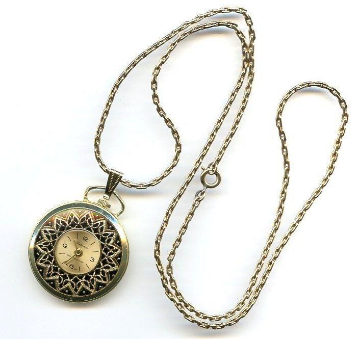 Vtg Bercona Berco 1J Swiss Gold Tone Pendant Necklace Pocket Style Watch - TLC #Berco