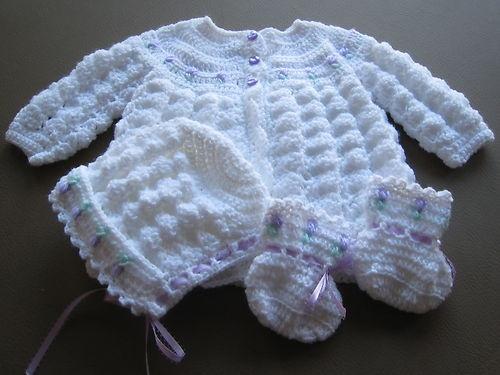 Handmade Crochet Knit Baby Girl Sweater Set Newborn White And Pink 3