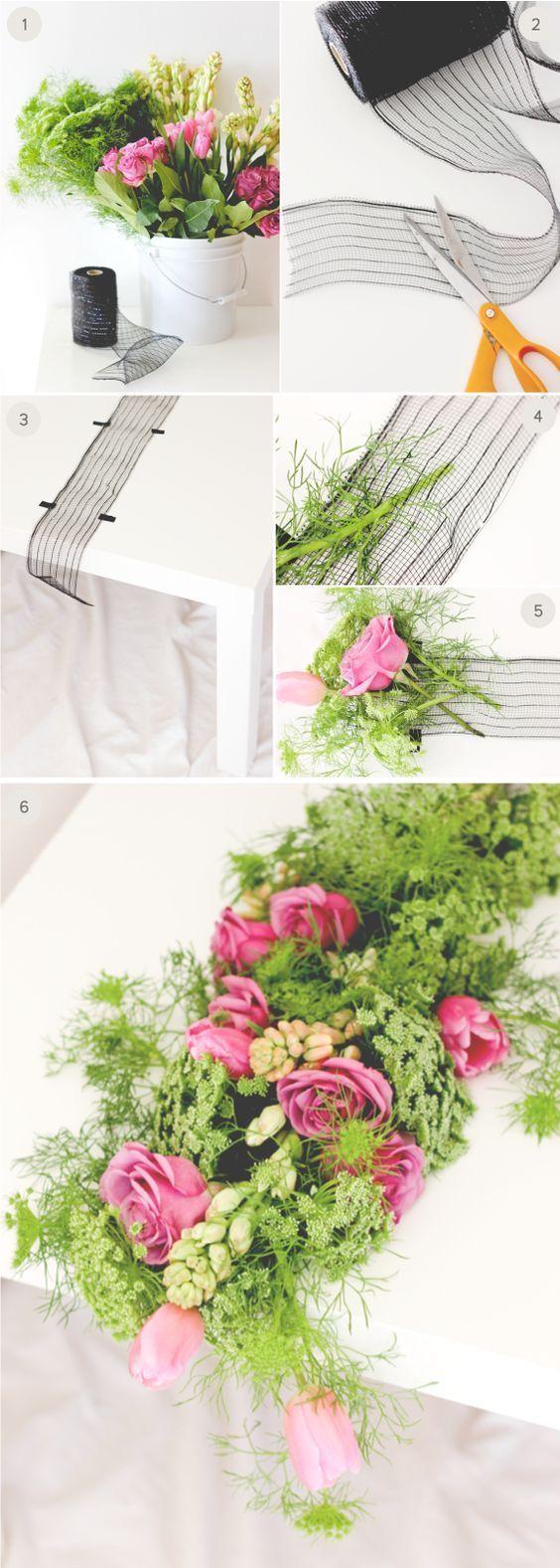 DIY Wedding fresh floral table runner / http://www.himisspuff.com/diy-wedding-centerpieces-on-a-budget/34/