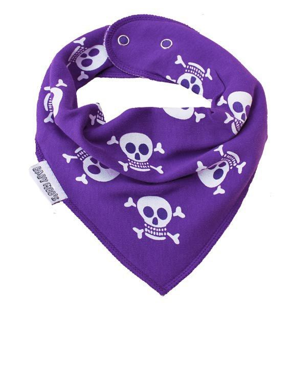 COOL SKULL & CROSSBONES BABY BANDANA DRIBBLE BIB • AN INSTANT CUTE LOOK Adorable skull & crossbones baby dribble bib / bandana bib instantly adds a little alternative styled fun to babys clothes collection. • AWARD WINNING Our baby dribble bibs boast an award for their quality & style from