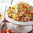 Couscous and Shrimp Salad with Tangerines and Almonds. Delightful!!