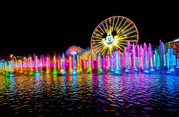 World of Color Viewing Tips & Info.  Disneyland Resort's World of Color (in Disney California Adventure Park) nighttime water spectacular combines water, vibrant colours, fire and light into a jaw-dropping delight for the senses.  More than 1,000 jets of water form incredible shapes in time to the music as Disney characters come to life on a shimmering veil of mist.