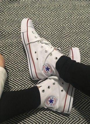 Kup mój przedmiot na #vintedpl http://www.vinted.pl/damskie-obuwie/trampki/21090579-trampki-converse-all-star-hi-bialo-niebieskie-czerwone