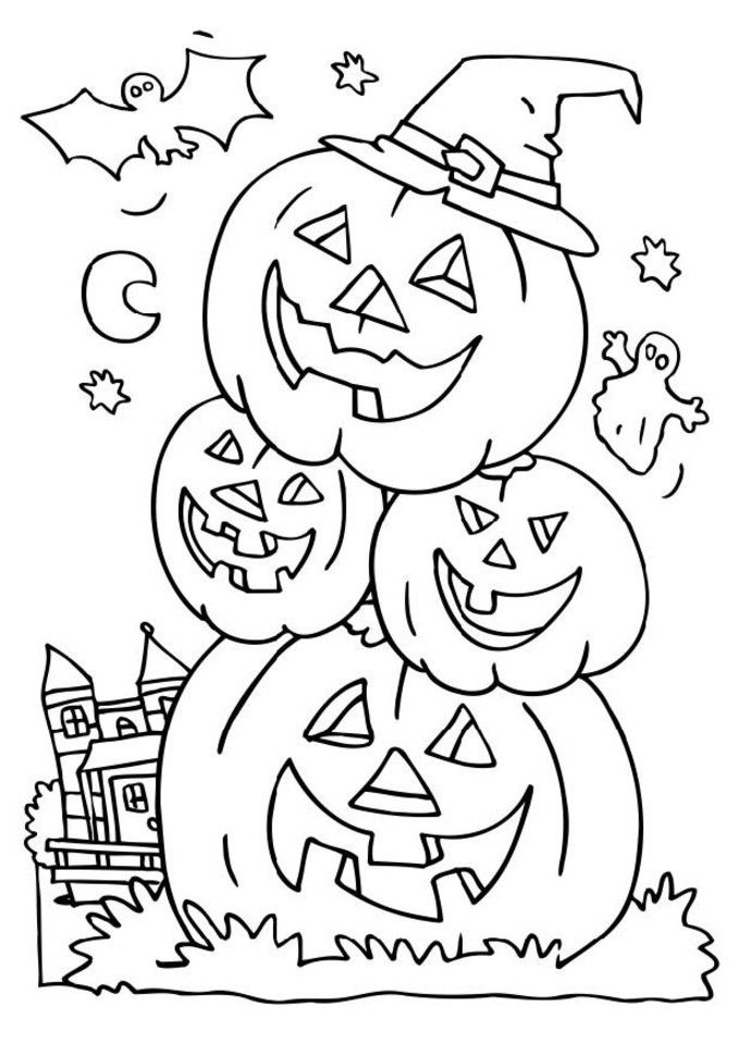 head pumpkin in halloween night coloring pages halloween coloring pages kidsdrawing free coloring pages online - Coloring Pages Kids Halloween