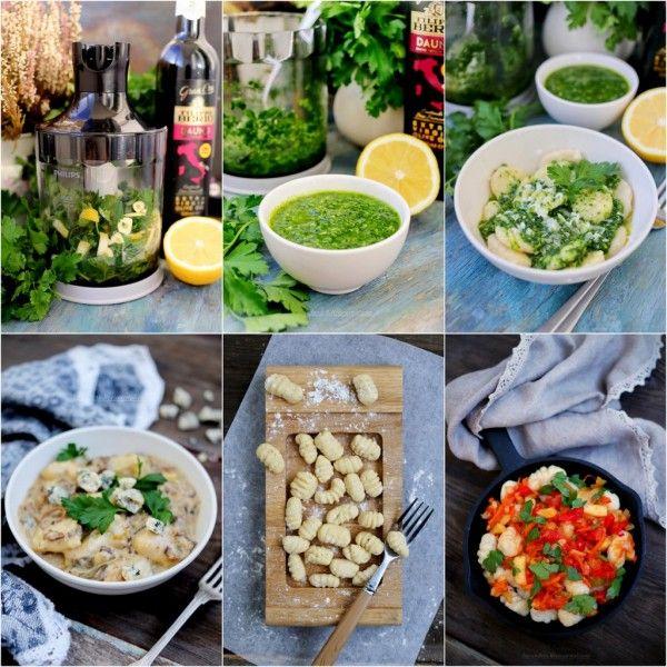 Завтраки, обеды, ужины - Картофельные ньокки. Соус Гремолата. Грибной соус. Ньокки с овощами.