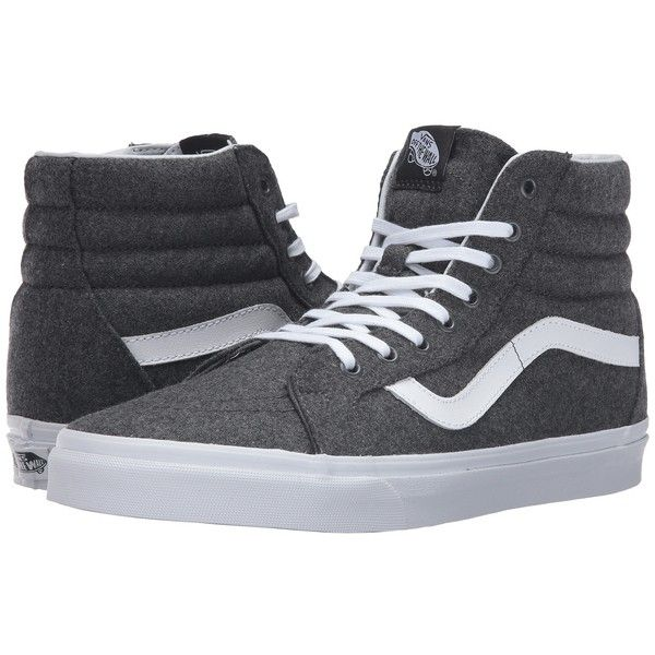 Vans SK8-Hi Reissue ((Varsity) Charcoal/True White) Skate Shoes ($70) ❤ liked on Polyvore featuring shoes, sneakers, print shoes, white skate shoes, pattern leather shoes, white trainers and vans trainers