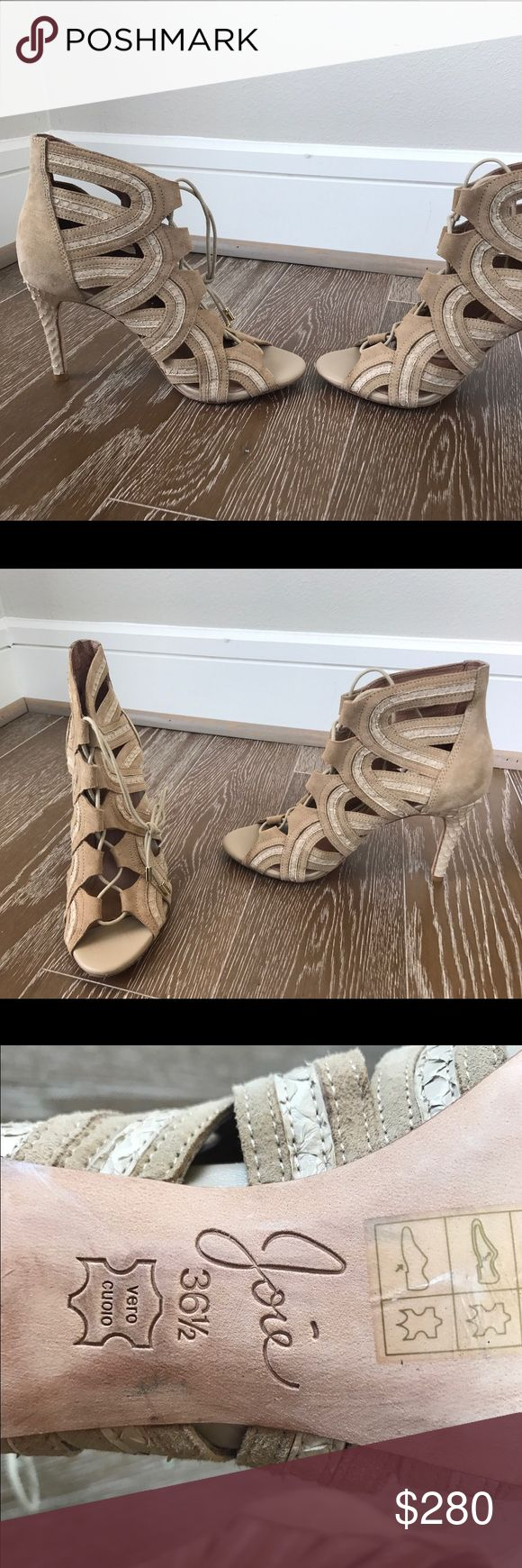 Joie Nude suede leather gladiator sandals heels In excellent condition! Have been worn maybe twice, are very comfortable and cute! Can go with absolutely anything! Shoes Heels