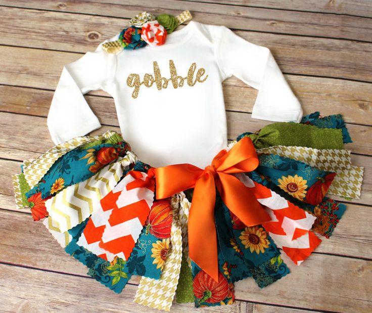 New 2016 Sunflower Pumpkin Thanksgiving Fabric Tutu by FlyAwayJo