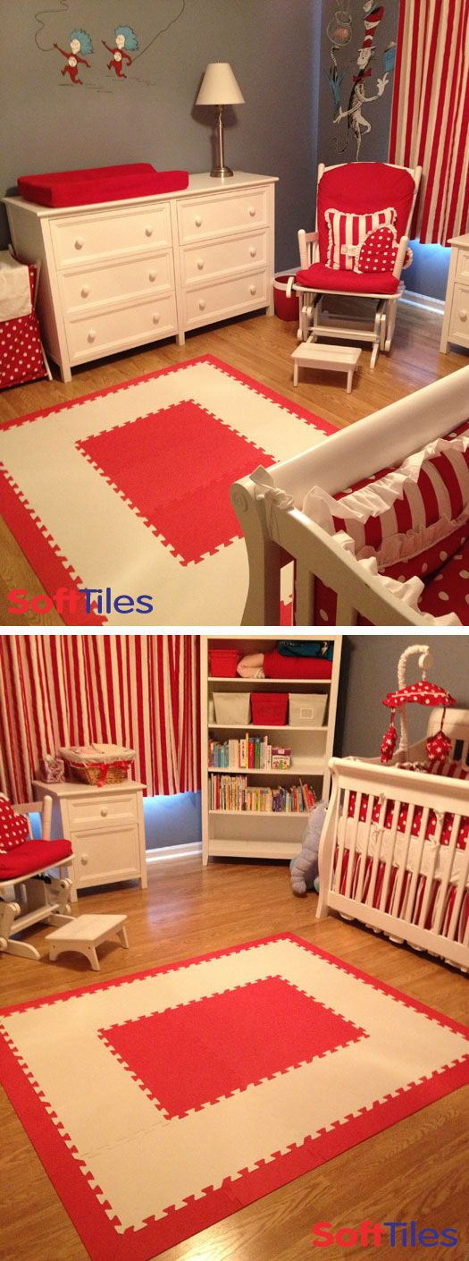 Dr. Seuss The Cat in the Hat themed nursery/playroom play mat using SoftTiles 1x1 Interlocking Foam Mats