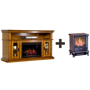 Brookfield TV Stand Electric Fireplace & Freestanding Stove Combo