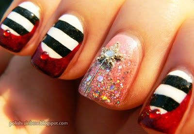 Oz The Great and Powerful Nail Art - DisneyOzEvent | Southern Bella's Ways To Save | Southern Mom Blog |  Love the ruby red slippers and the witch stockings!..of course, the focal nail represents Glenda, the Good Witch..love it, love it, love it!