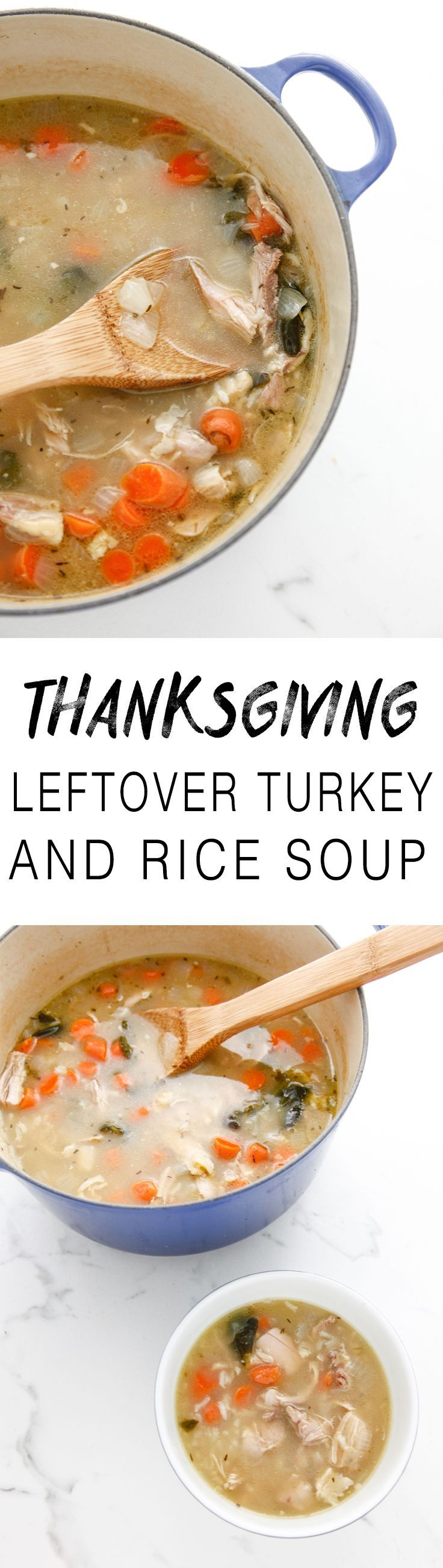 Leftover Turkey and Rice Soup is a great way to use those thanksgiving leftovers. Easy to freeze and save for later, too!