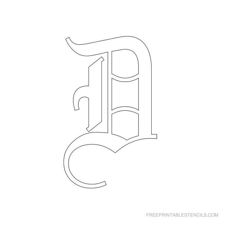 Printable Old English Alphabet Stencil D