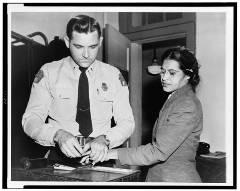 Most historians date the beginning of the modern civil rights movement in the United States to December 1, 1955. That was the day when an unknown seamstress in Montgomery, Alabama refused to give up her bus seat to a white passenger. This brave woman, Rosa Parks, was arrested and fined for violating a city ordinance, but her lonely act of defiance began a movement that ended legal segregation in America, and made her an inspiration to freedom-loving people everywhere.: Buses, Rosa Parks, African American, Civil Rights, Seats, Bus Boycott, Montgomery Bus, Black History, People