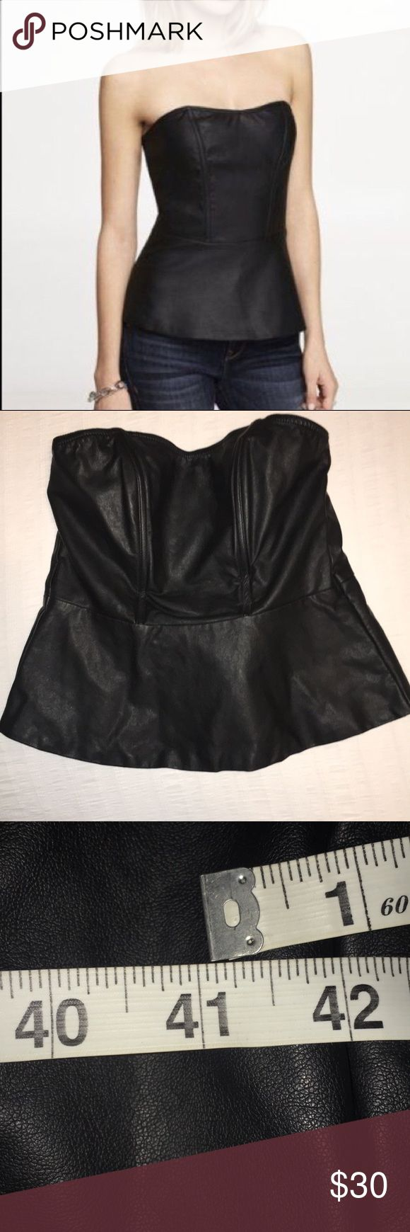 Express vegan leather peplum top Please read full description, measurements are larger than standard express measuring chart.  Perfect condition Express vegan leather peplum top. Very structured, boning in the front. Zipper in the back. Leather on both front & back Size L but fits like an XL.  Measurements at largest part of the chest is 41 inches. Measurements at smallest part of waist is 39 inches. Express Tops
