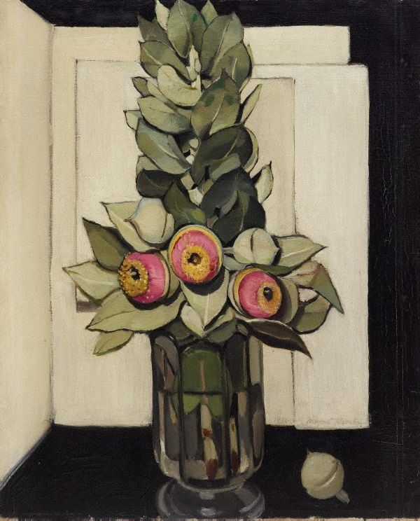 'Western Australian gum blossom' is one of a group of paintings by Margaret Preston from the late 1920s, remarkable for their simplicity of design and restrained use of colour. Preston believed that the best subjects for modern art were to be found in everyday life. This, combined with her commitment to a peculiarly 'national art', encouraged her use of Australian native flowers, whose distinctive shapes and colours could be ably expressed in her tightly structured still lifes.