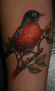 Pretty Robin tattoo.....could put it with a cherry blossom tree for name and heritage significance