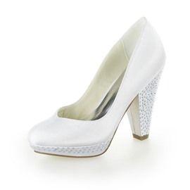 Shinning Chunky Heel White Bridal Shoes
