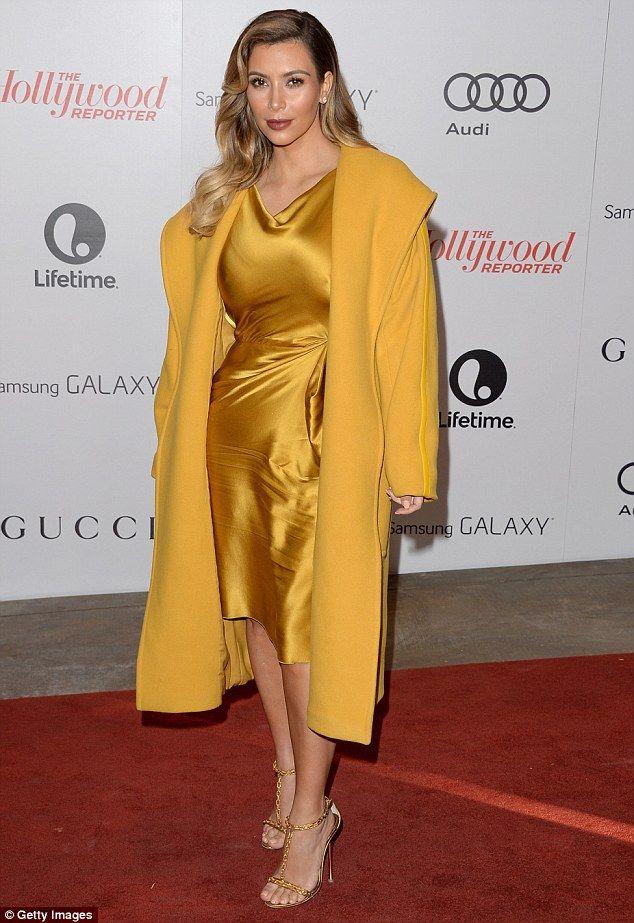 Kim kardashian yellow dress blue heels