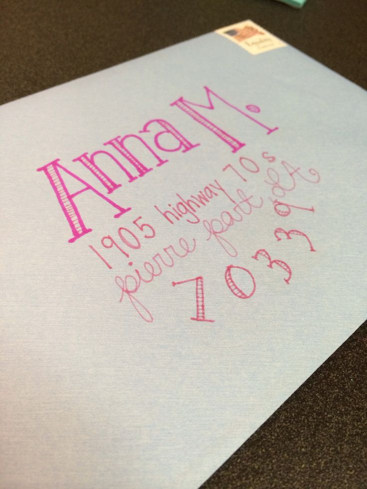 Envelope addressing. LOVE the girliness.. LOVE the pink shades!