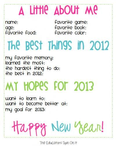 The Educators' Spin On It: New Years Activities & Printables for #Kids
