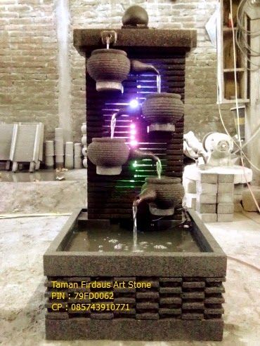 Dimensi : ukuran bak 80 x 60 cm tinggi fountain 110 cm mesin kapasitas 38 watt