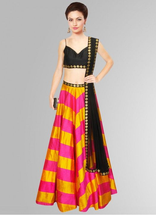 Khantil Black & Yellow Raw Silk Navratri Special Printed Lehenga Choli…