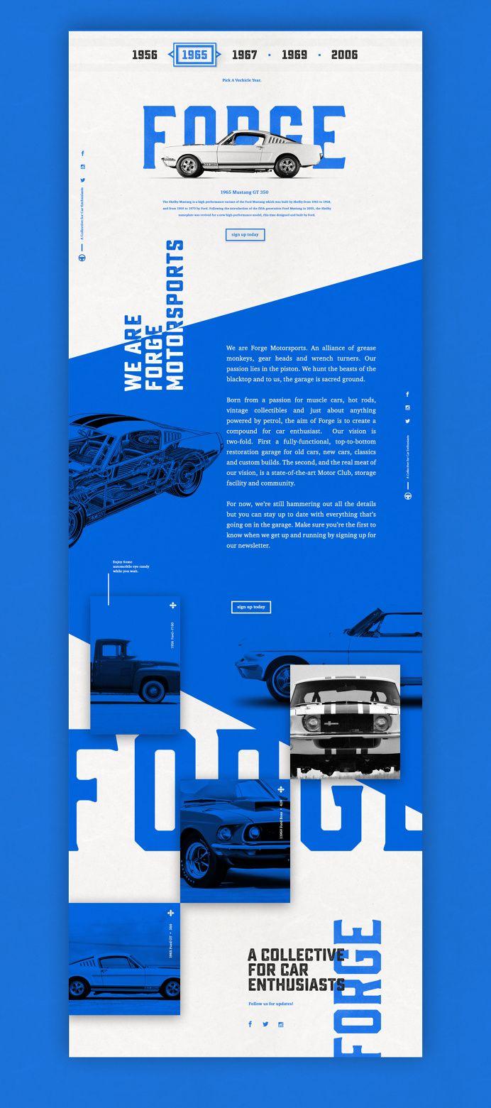 Designspiration — Design Inspiration - car vintage tyography simple UI user interface blue white black muscle forge bold