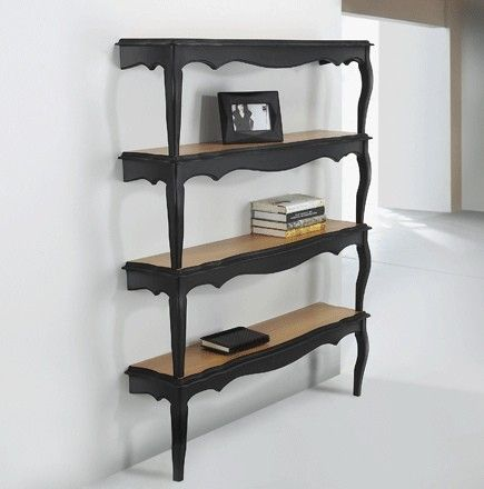 Repurposed end tables as shelves.   indulgy.com