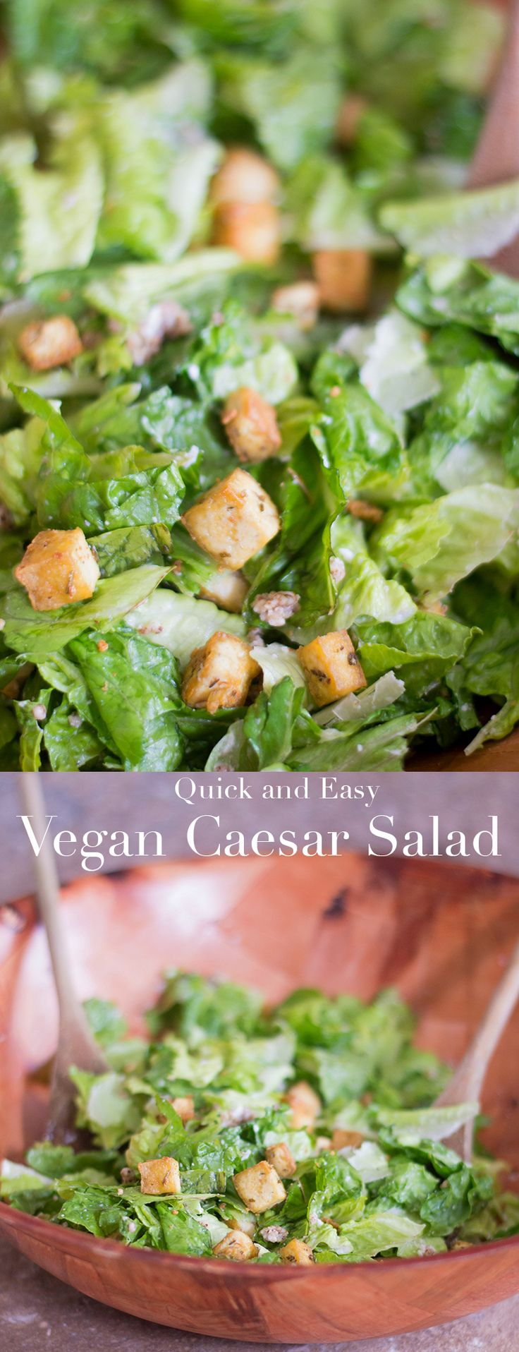 Quick and easy vegan caesar salad recipe. Make this healthy salad recipe for lunch or for dinner appetizer. Has vegan salad dressing and vegan Parmesan