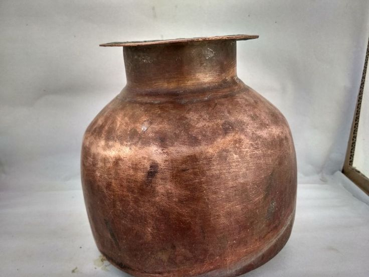 Large Ancient India Hand Carved Heavy Copper Hindu Holy Water GangaJal Pot Lota #Handmade