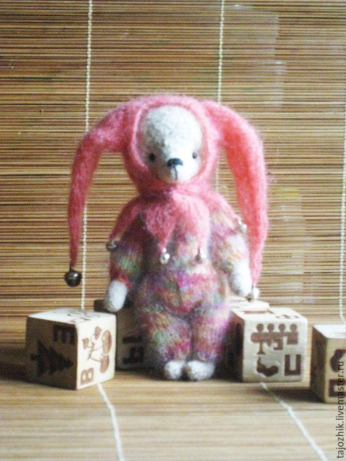 Купить мишка Арлекинчик - комбинированный, мишка тедди, медведь тедди, Вязание крючком, вязаная игрушка