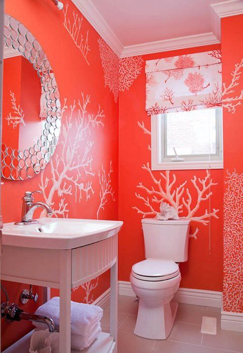 Coral full bathroom original source unknown http www for Bright coloured bathroom accessories